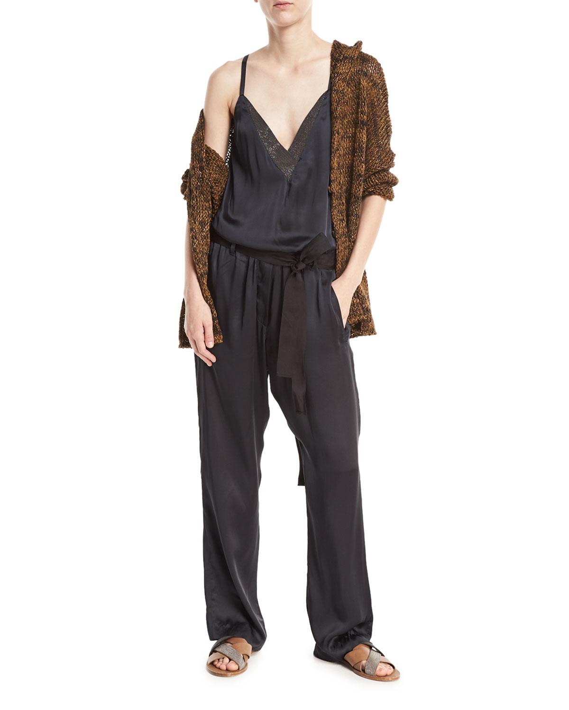 Open-Front Linen-Hemp Metallic Hooded Cardigan with Belt