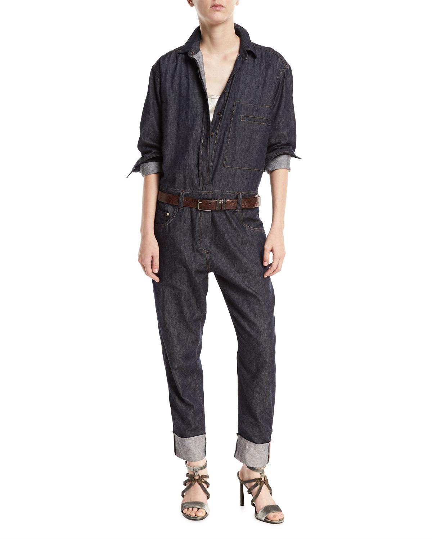 Button-Front Long-Sleeve Denim Jumpsuit
