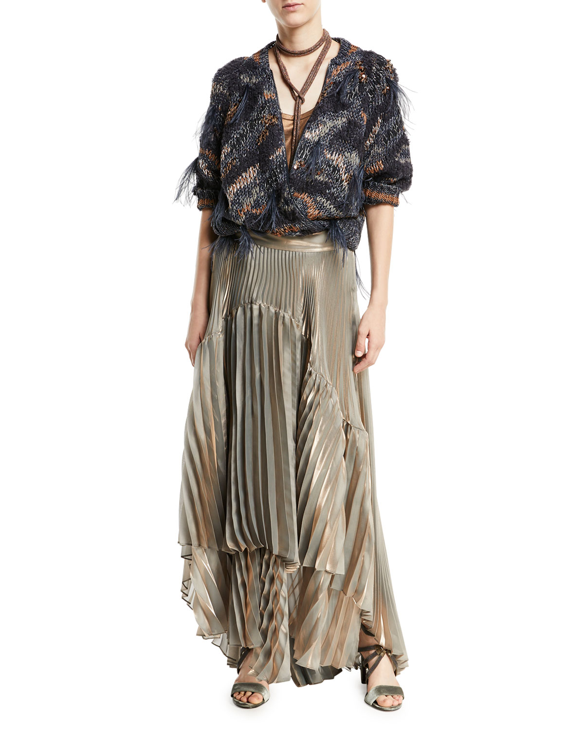 Metallic Pleated Iridescent Tiered Maxi Skirt