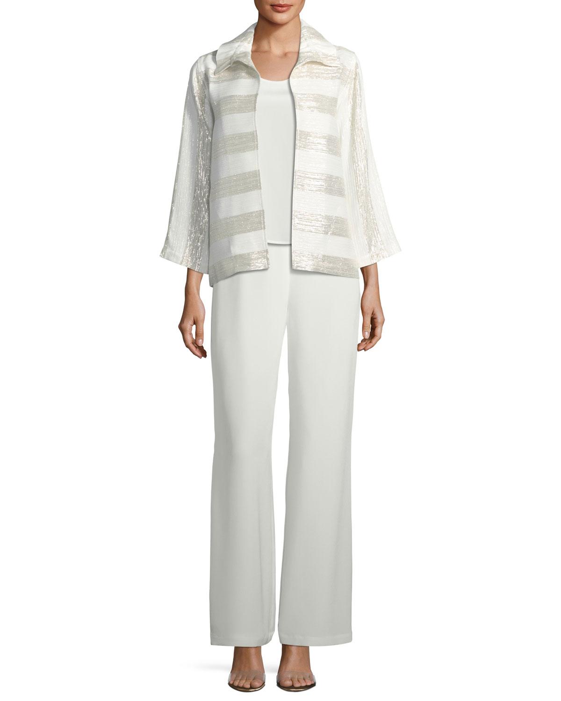 Silk Crepe Lined Wide-Leg Pants, Plus Size