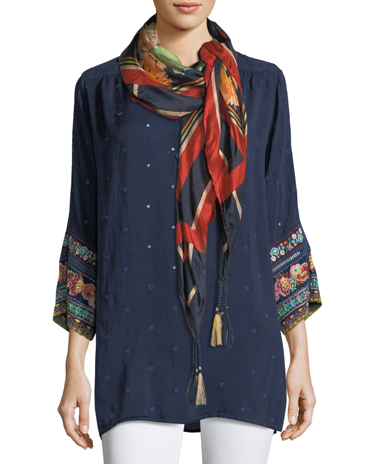 Patchwork-Sleeve Georgette Tunic