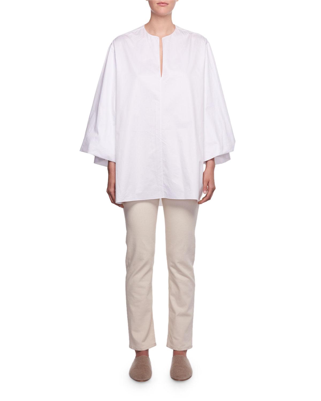 Charis Split-Neck Oversized Sea-Island Cotton Shirt