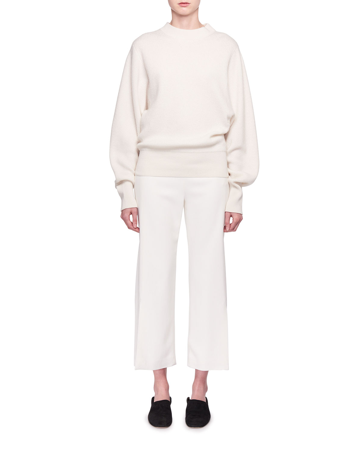 Paler Flared-Leg Cropped Crepe Pants