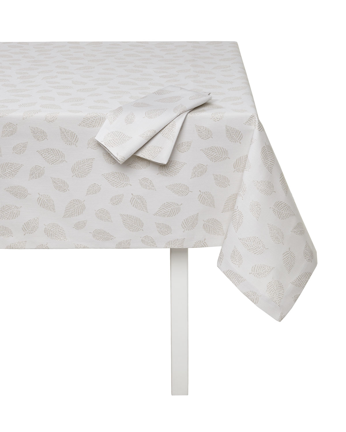 """Ivy Tablecloth with Metallic Leaves, 66"""" x 128"""""""