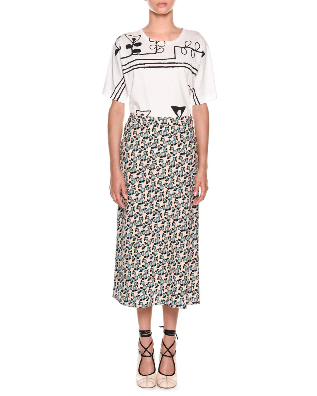 Plumeria Floral-Print A-Line Ankle-Length Skirt