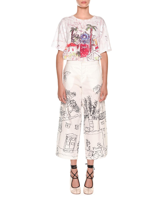 Artist Collaboration Wide-Leg Cotton Poplin Ankle Pants