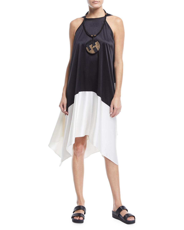 Sleeveless Colorblock Silk Tunic Dress