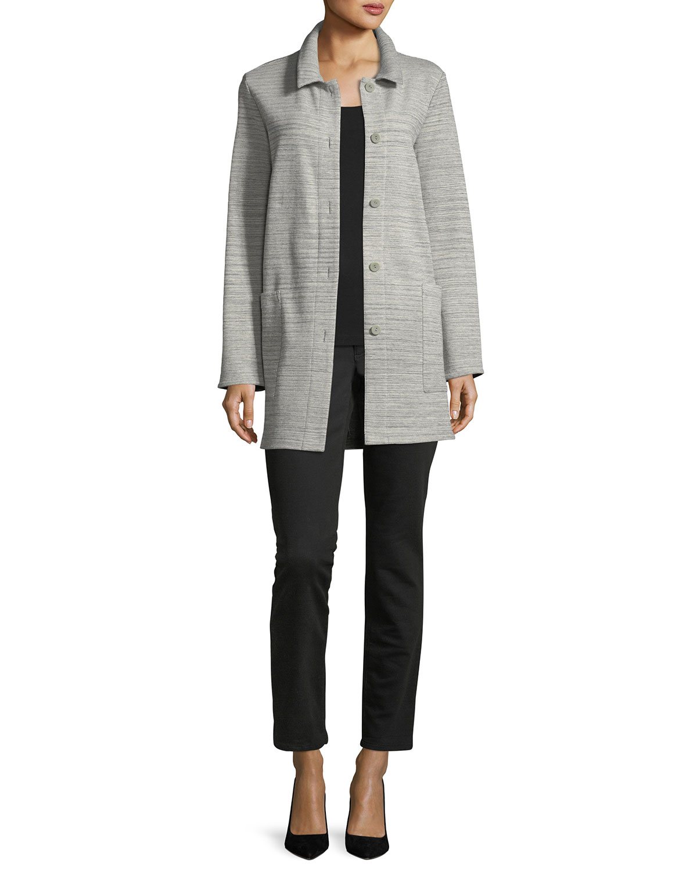 Chevron-Knit Long-Sleeve Jacket
