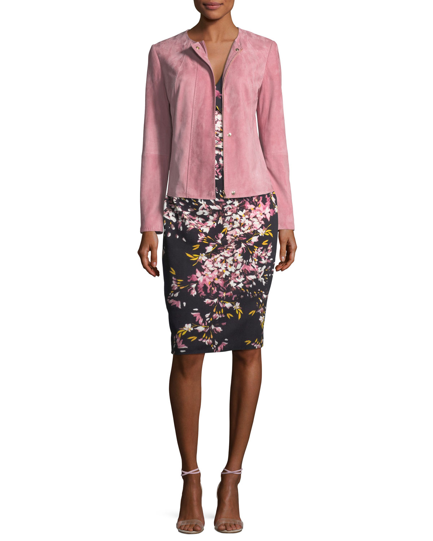 Floral-Print Jersey Cocktail Sheath Dress