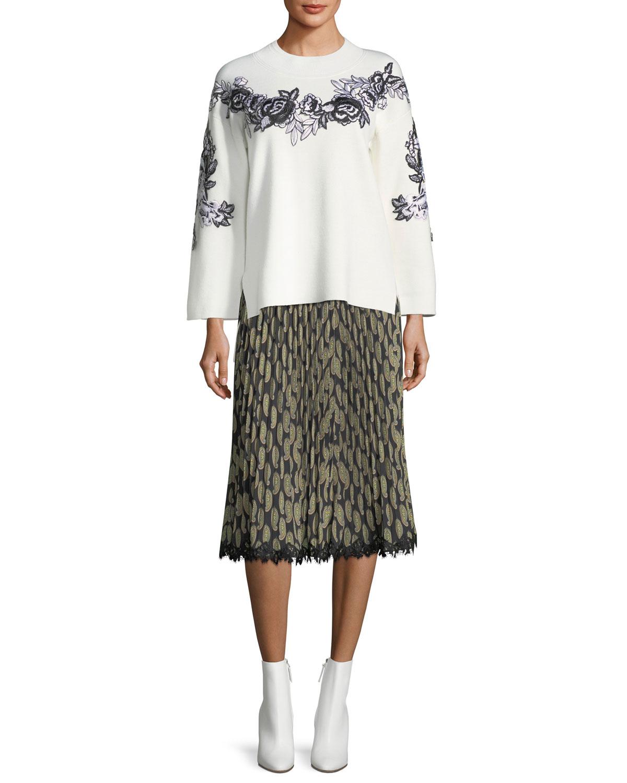 Viola Pleated Paisley-Print Skirt