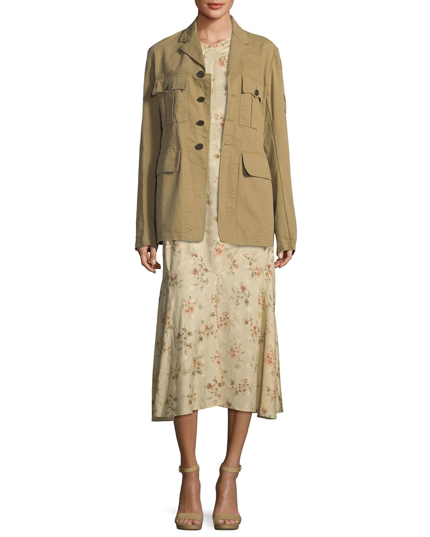 Afton Button-Front Twill Safari Jacket