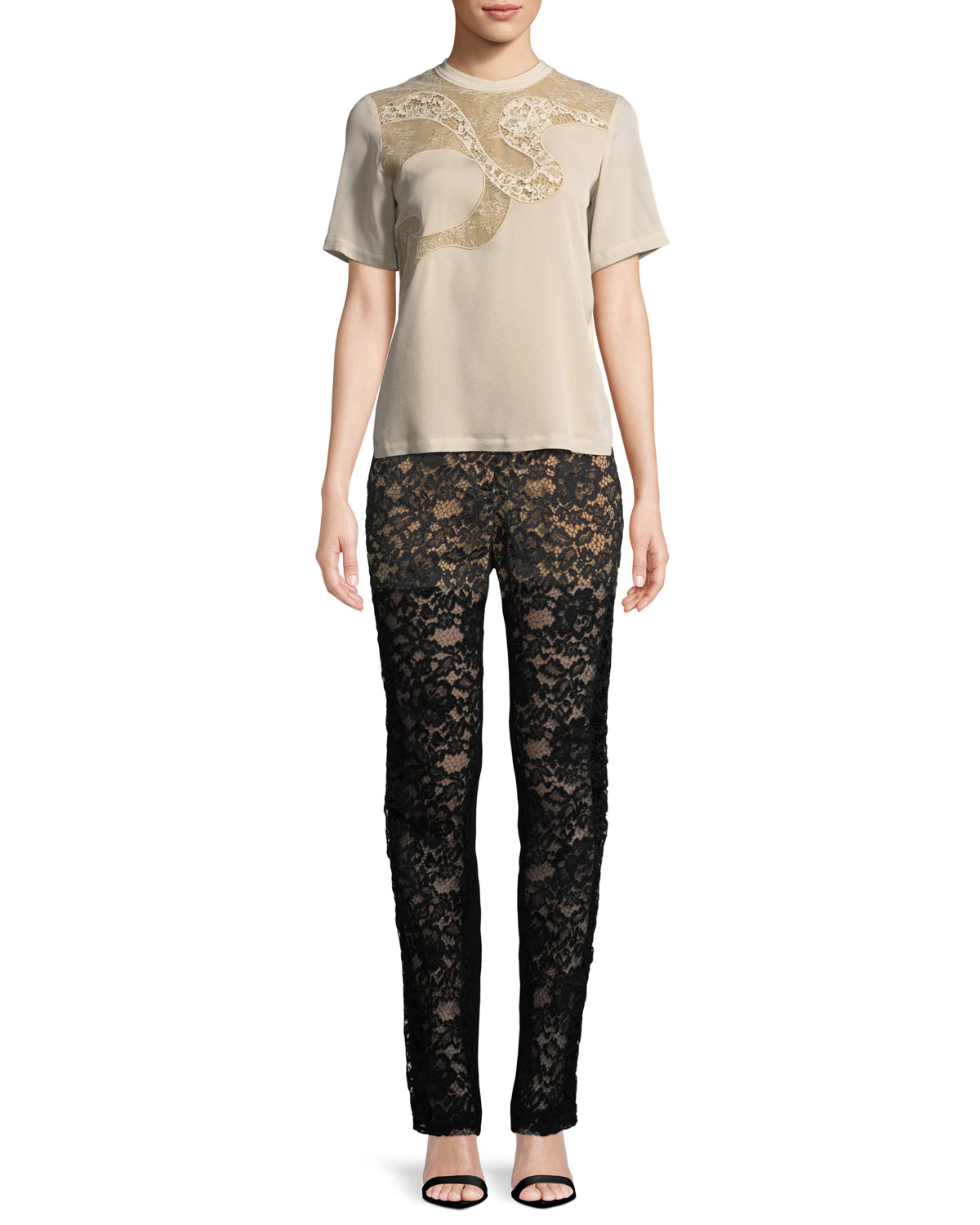 Short-Sleeve Blouse with Lace