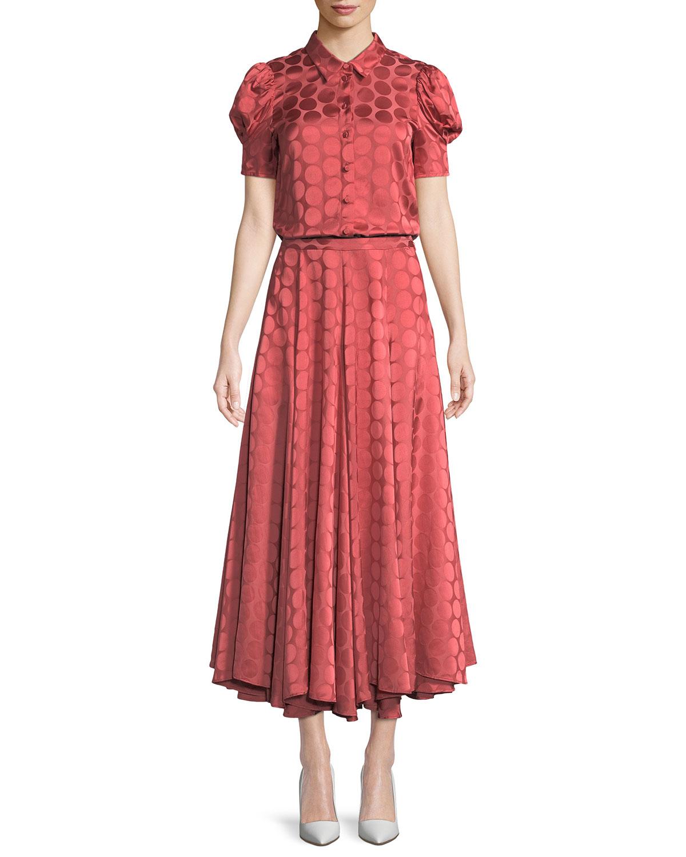 Pleated A-Line Tonal Dot Satin Midi Skirt