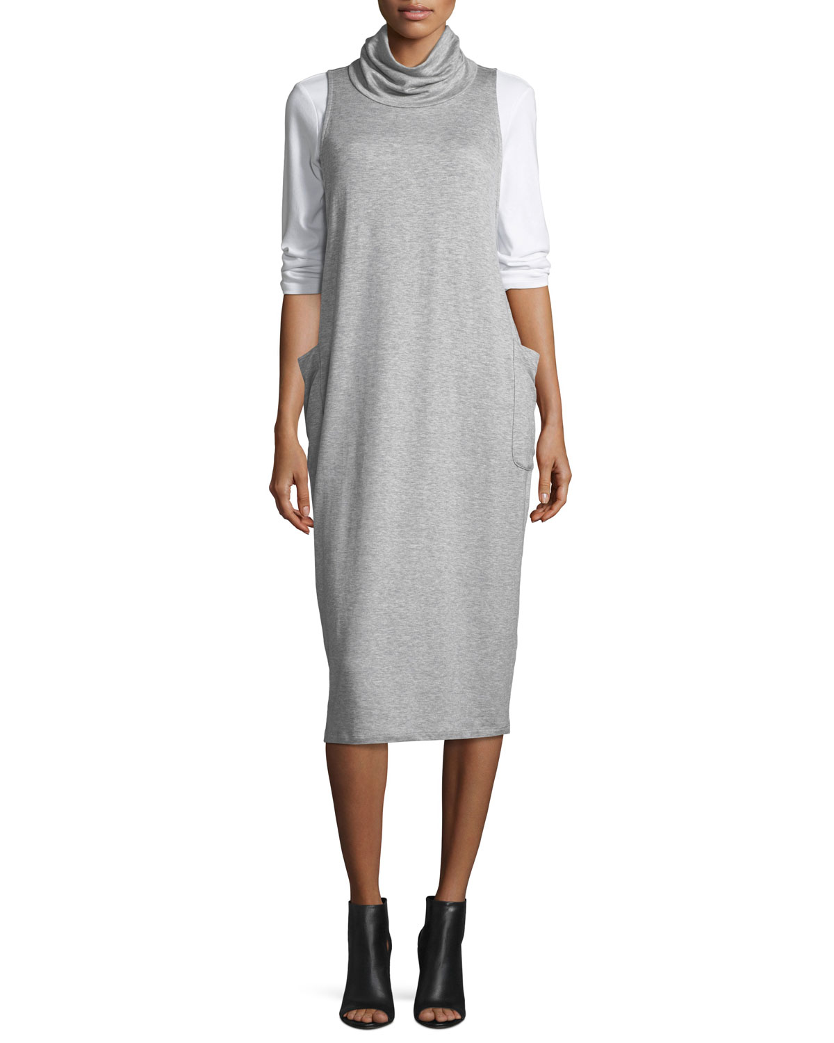 Cowl-Neck Sleeveless Knit Dress