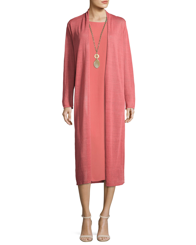 Silk Georgette Crepe Midi Tank Dress, Coral