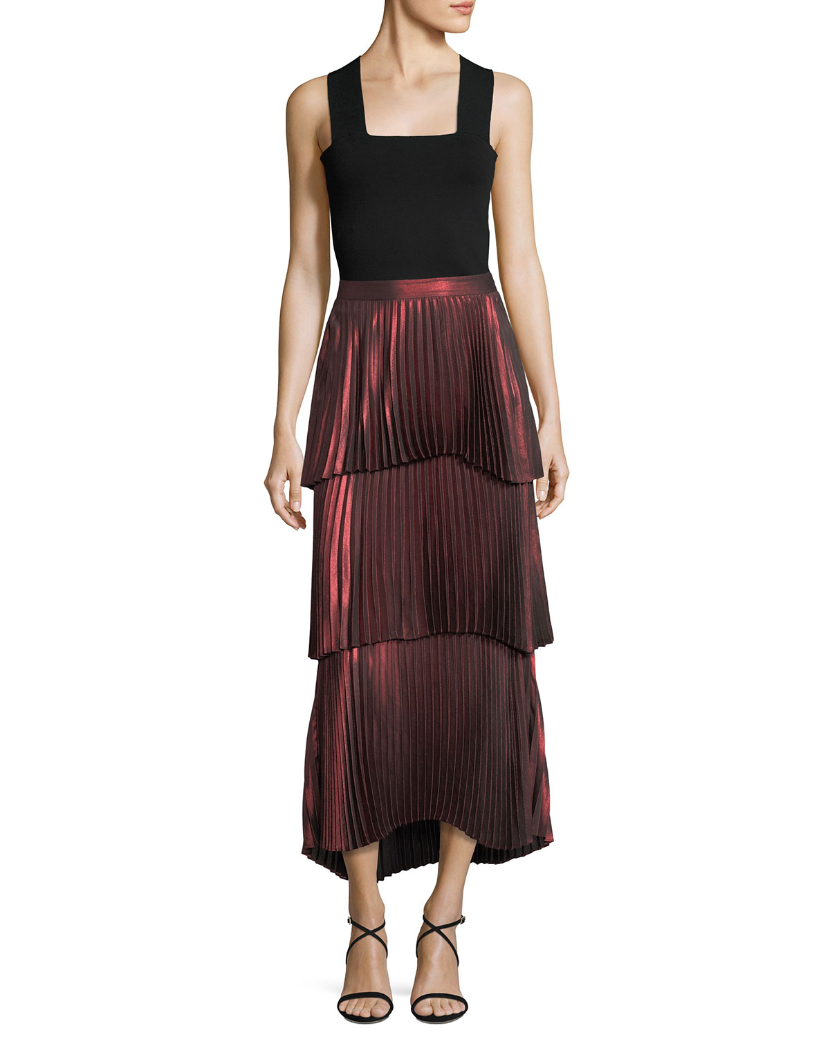 Harley Tiered Pleated Metallic Skirt