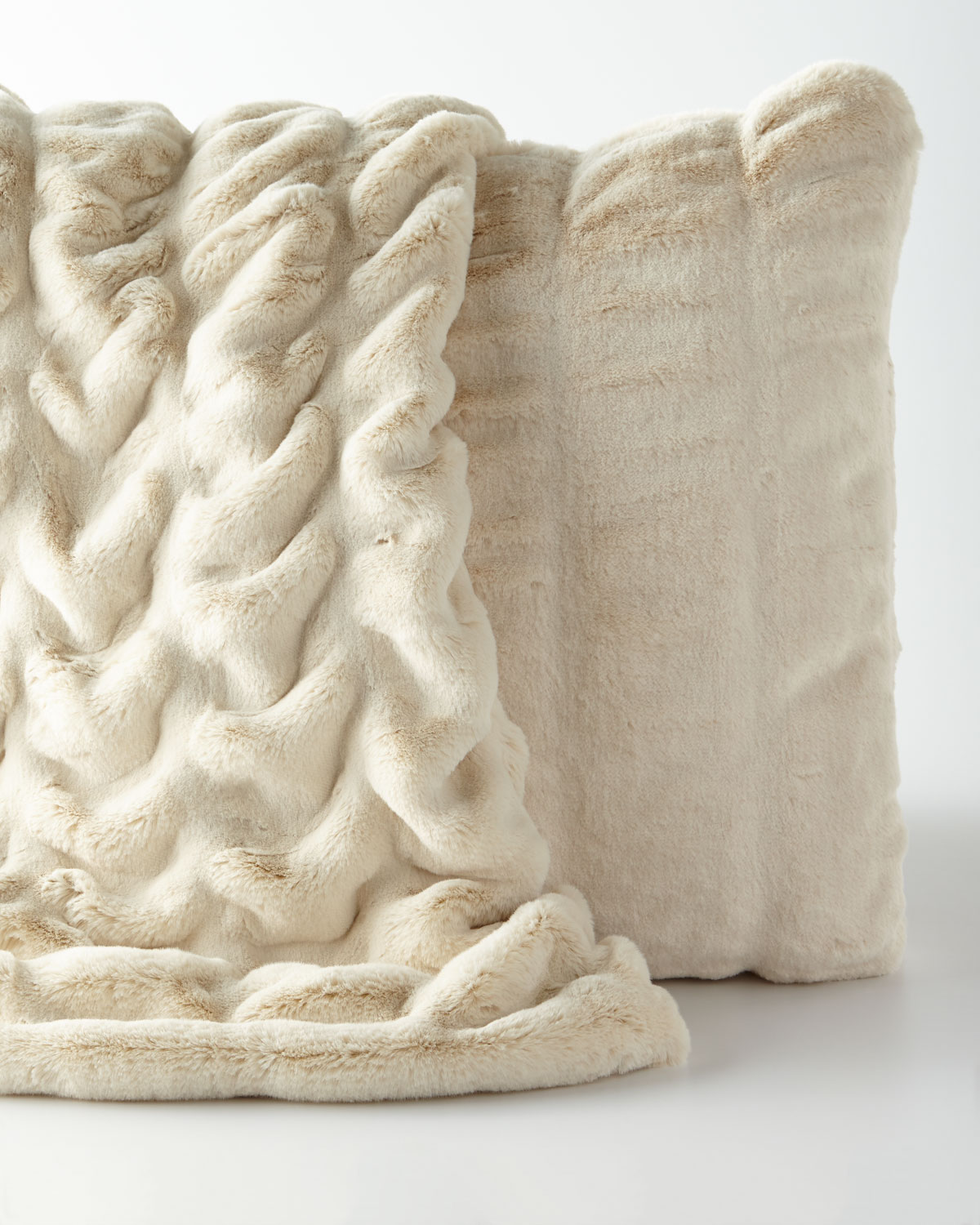 Ivory Faux-Mink Throw