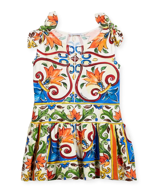 Maiolica-Print Jersey Dress, Size 4-6