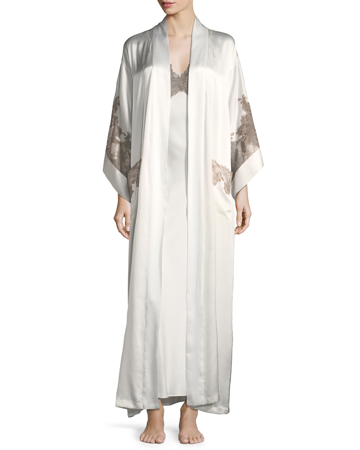 Lillian Lace-Trim Silk Robe