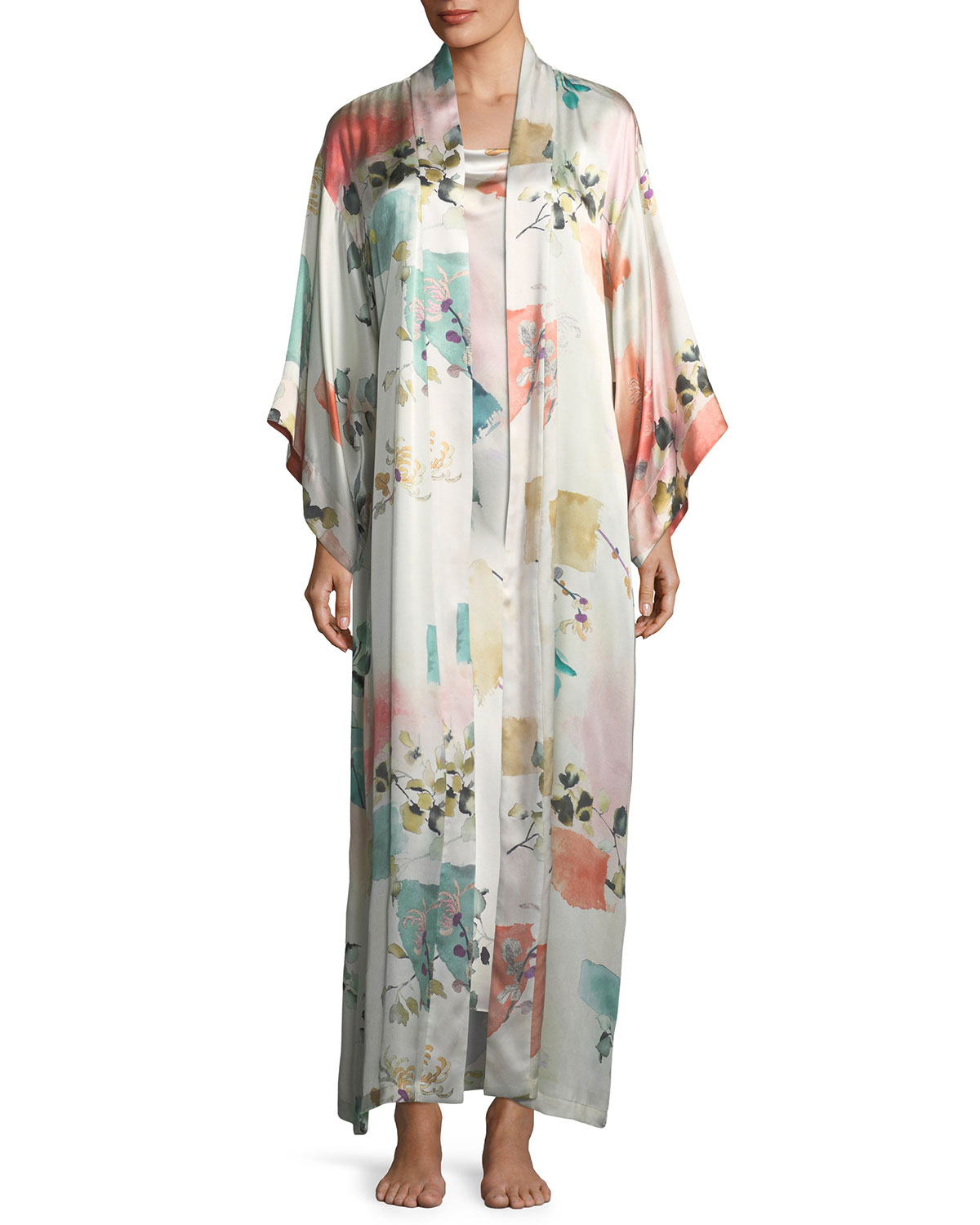 Watercolor Floral Long-Sleeve Silk Robe