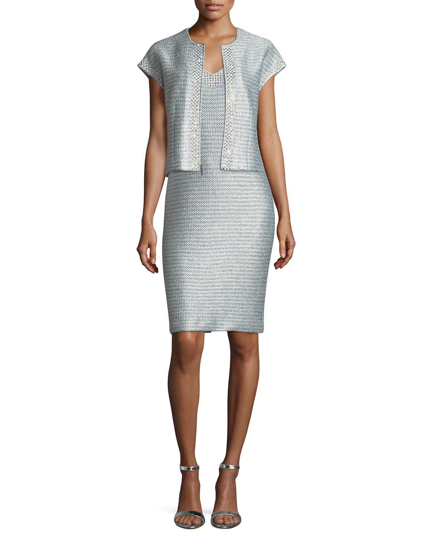 Gleam Metallic Knit V-Neck Cocktail Dress