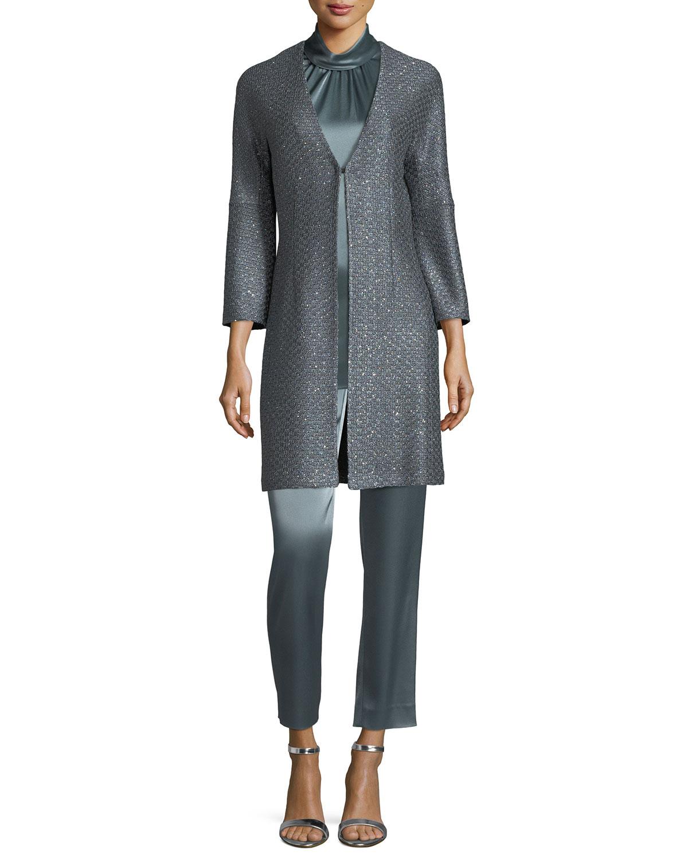 V-Neck Sequin Column Jacket