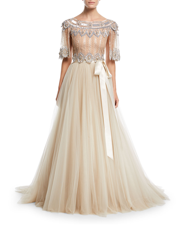 Monique Lhuillier Cherry Blossom One-Shoulder Ball Gown, Cream/Multi ...