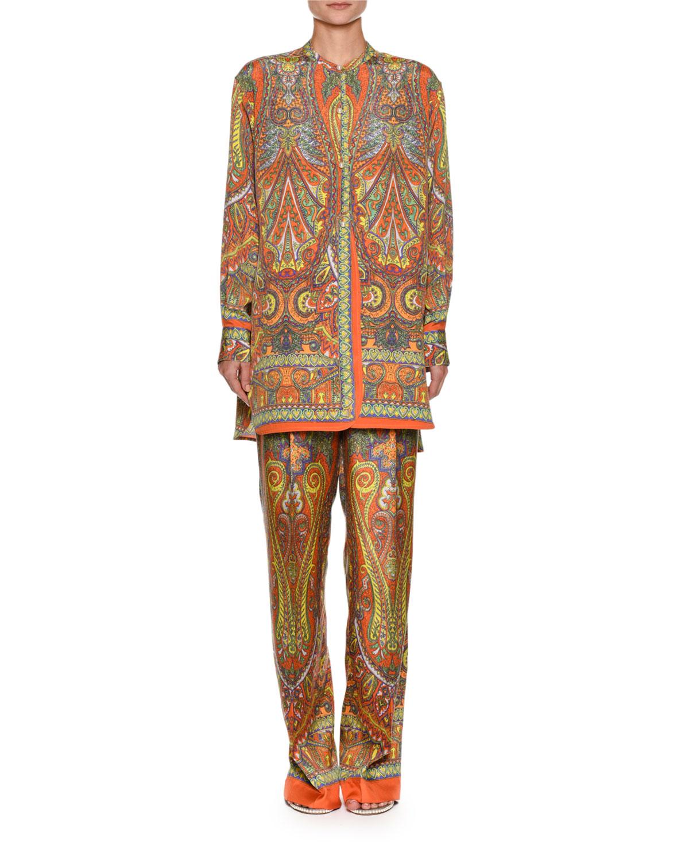 Paisley-Print Button-Front Silk Tunic