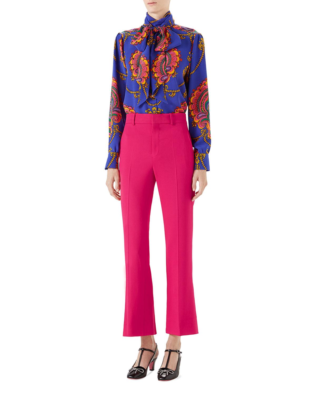 70s Graphic-Print Silk Shirt