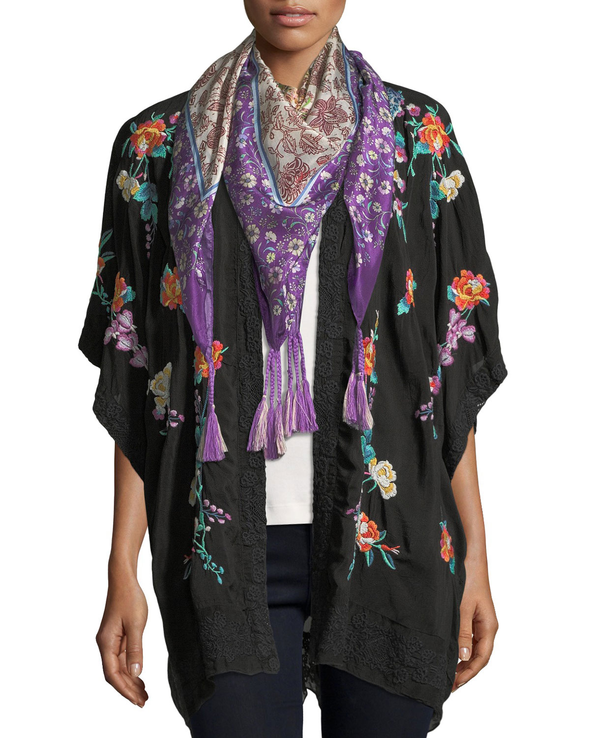 Classic Calla Embroidered Georgette Kimono