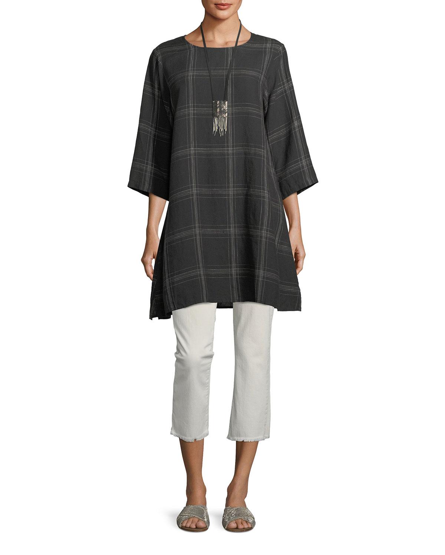 Organic Linen Plaid Tunic, Plus Size