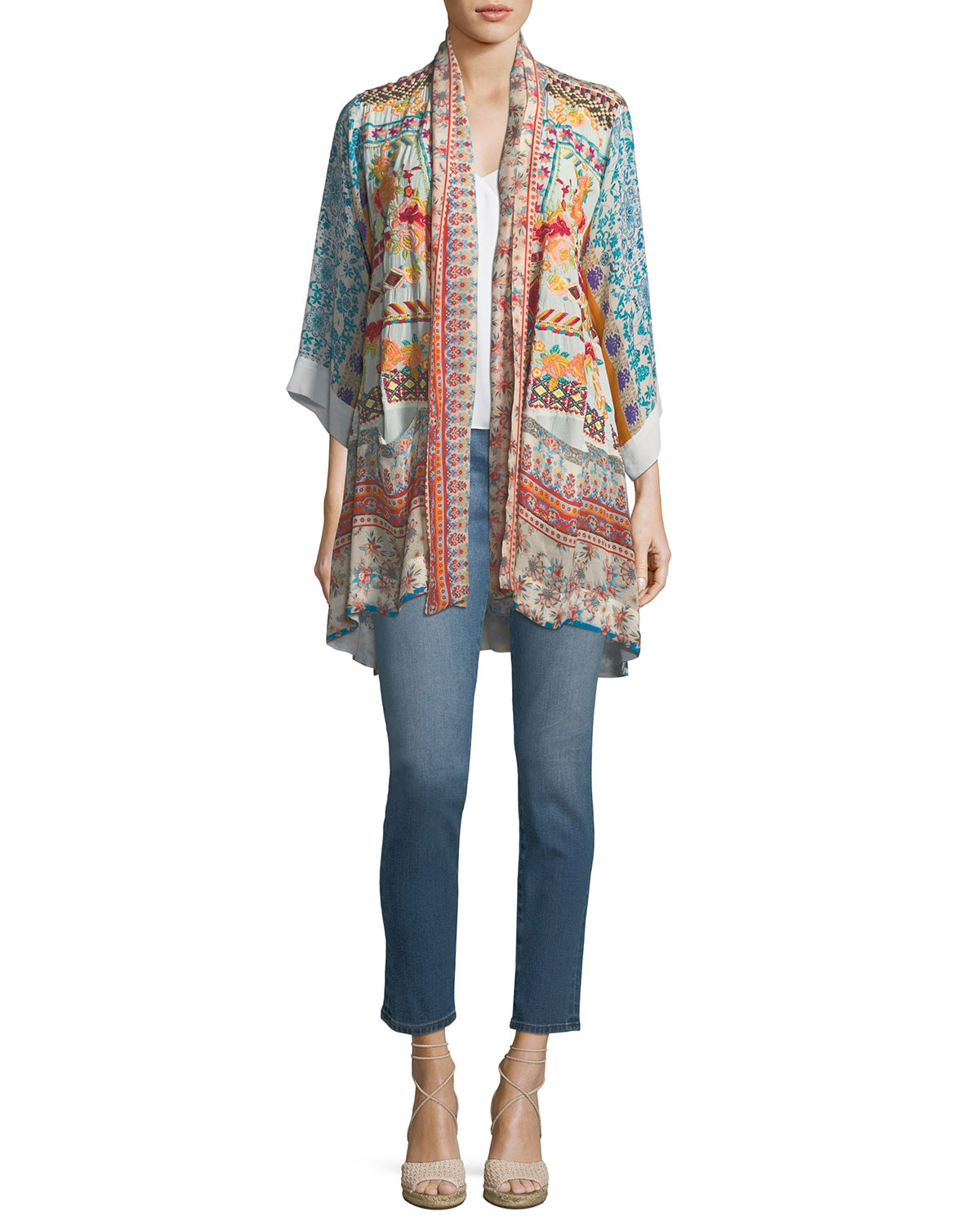 Betimo Embroidered Printed Kimono