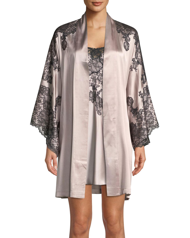 Camilla Lace-Trim Silk Kimono Robe