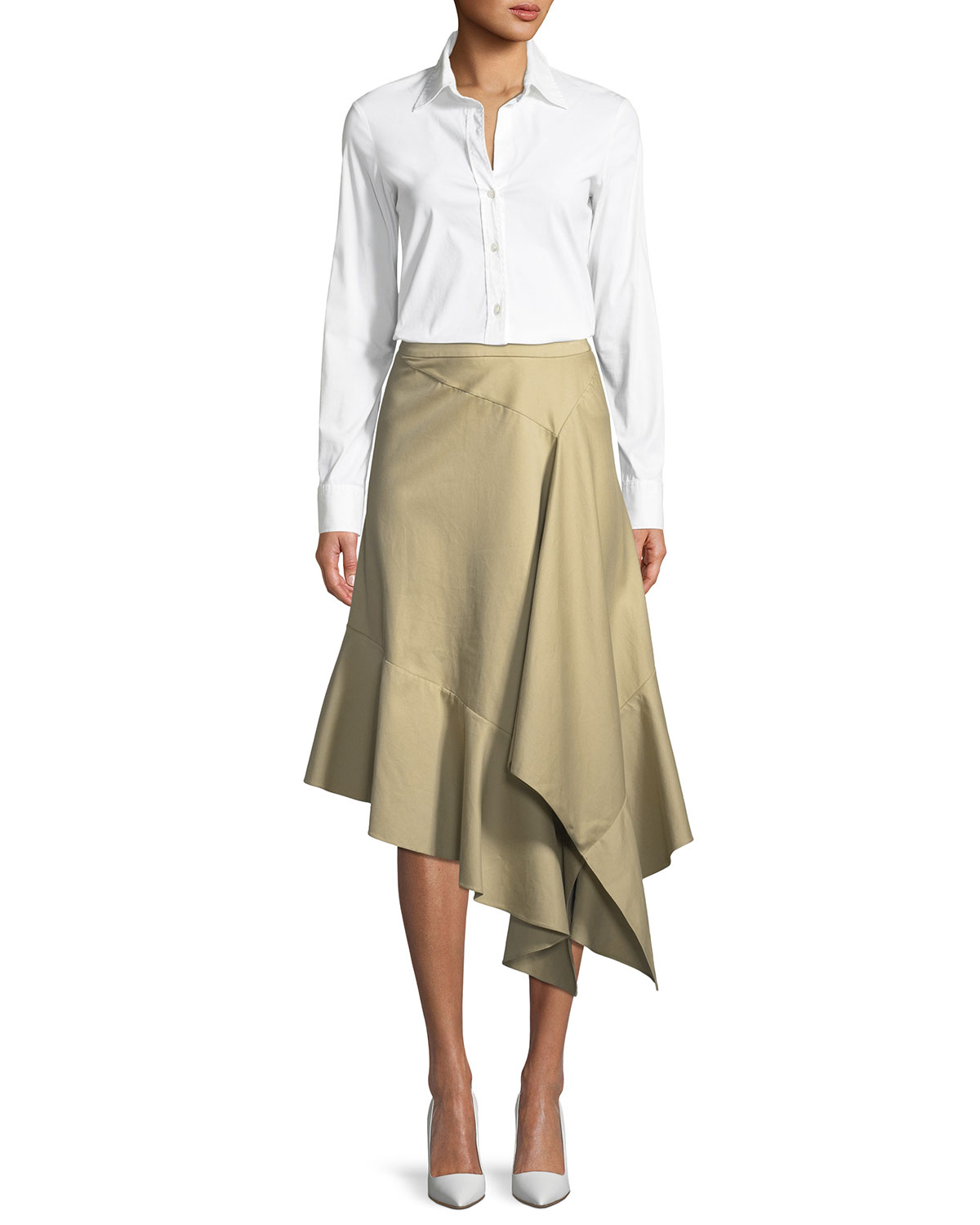 Spicy Asymmetric Draped Poplin Midi Skirt