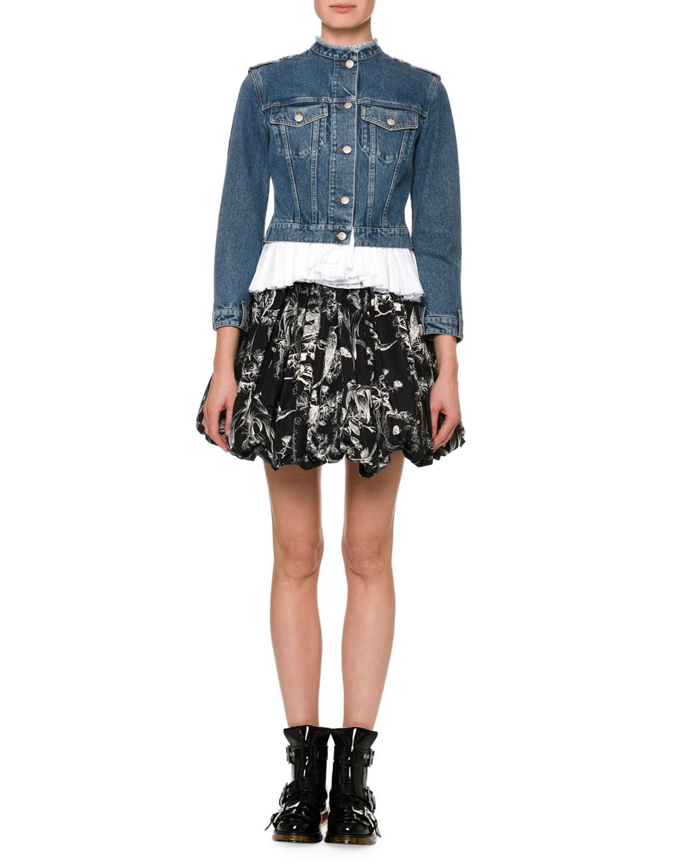 Bird-Sketch Pleated Bubble-Hem Mini Skirt. Alexander McQueen