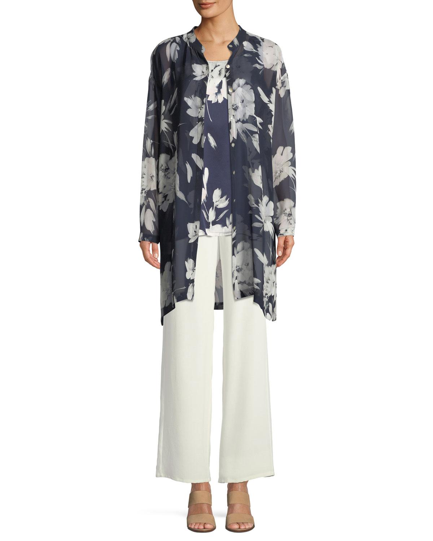 Silk Crepe Easy Contrast-Trim Pants, Plus Size
