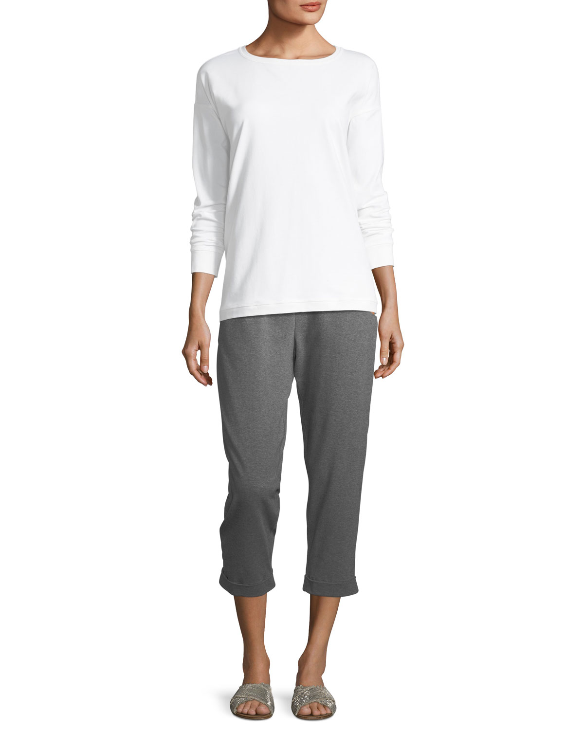 Heathered Stretch Jersey Slouchy Cropped Pants, Petite