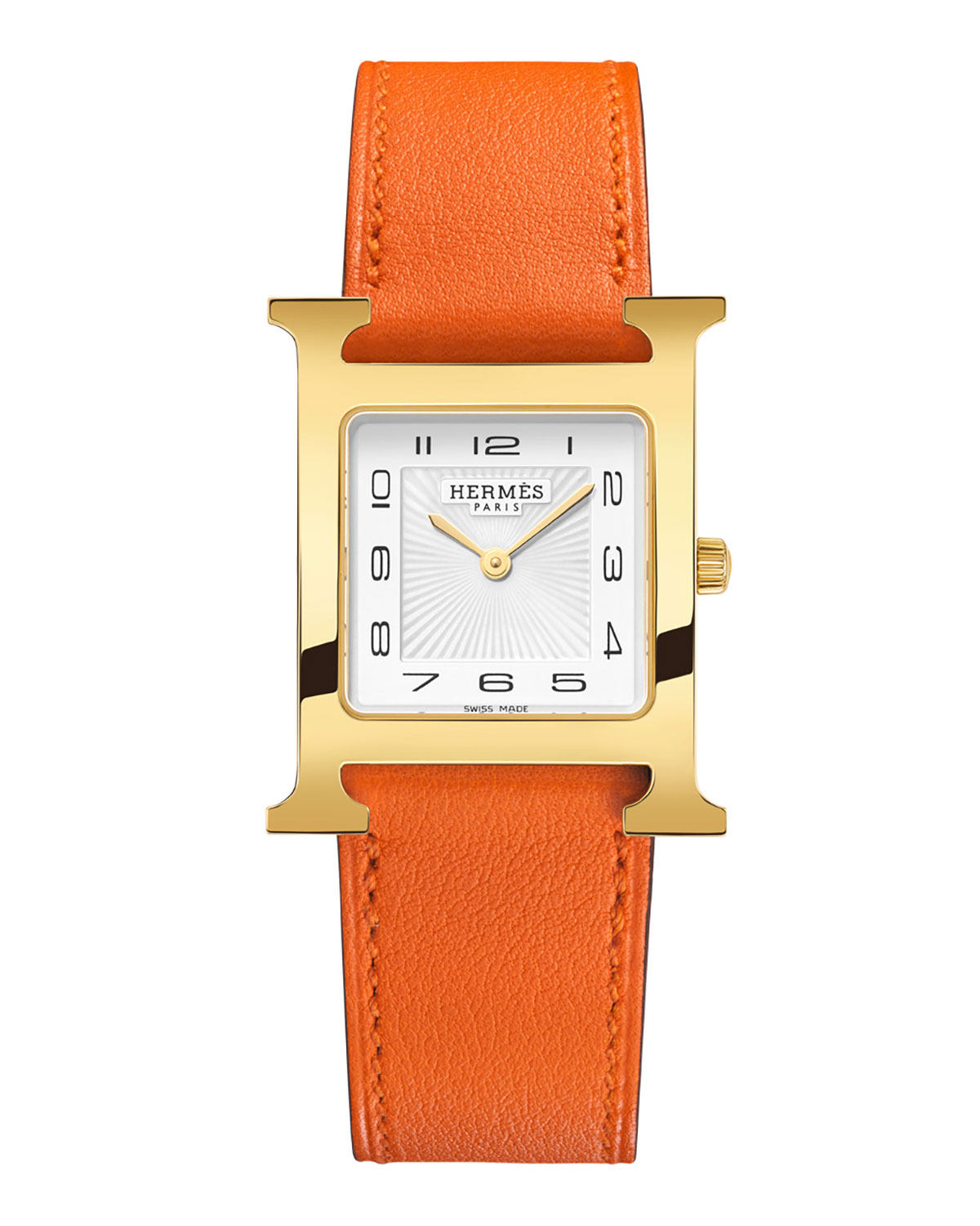 Heure H PM Watch with Orange Leather Strap