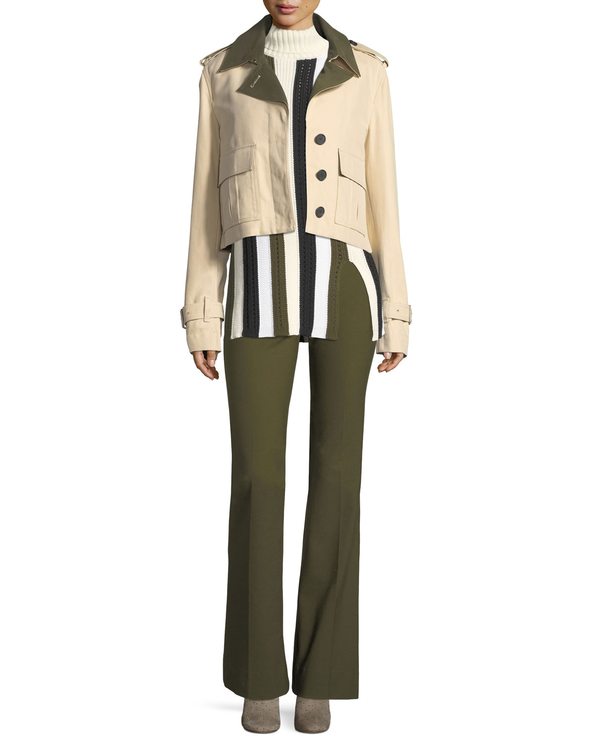 Flared Crepe Trousers with Grommet Details