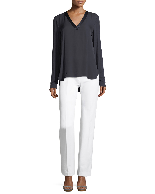 Leena Stretch-Cotton Straight-Leg Pants