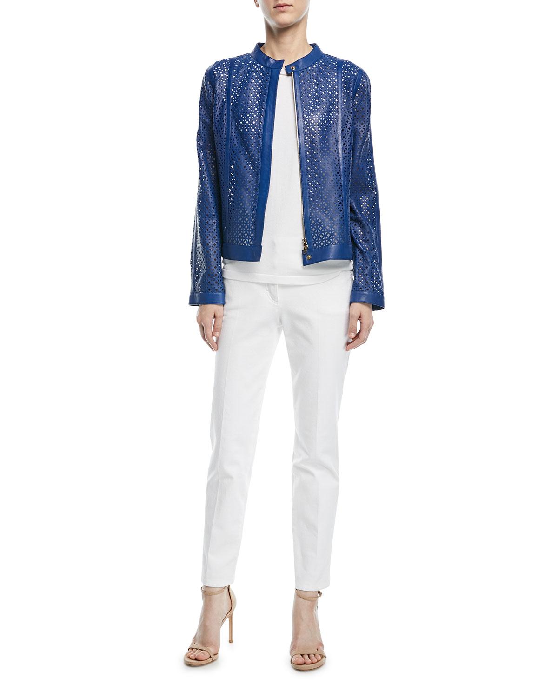 Zip-Front Laser-Lace Leather Jacket