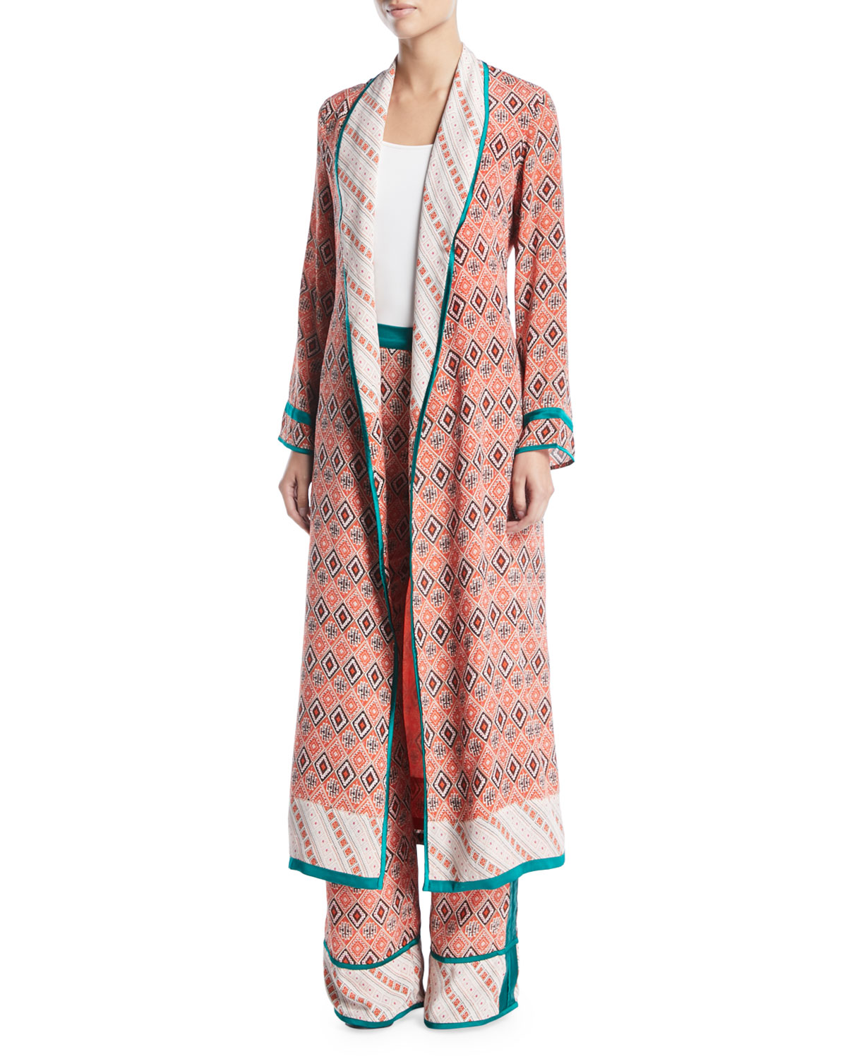 Almasi-Print Silk Robe Coat with Self-Tie Belt