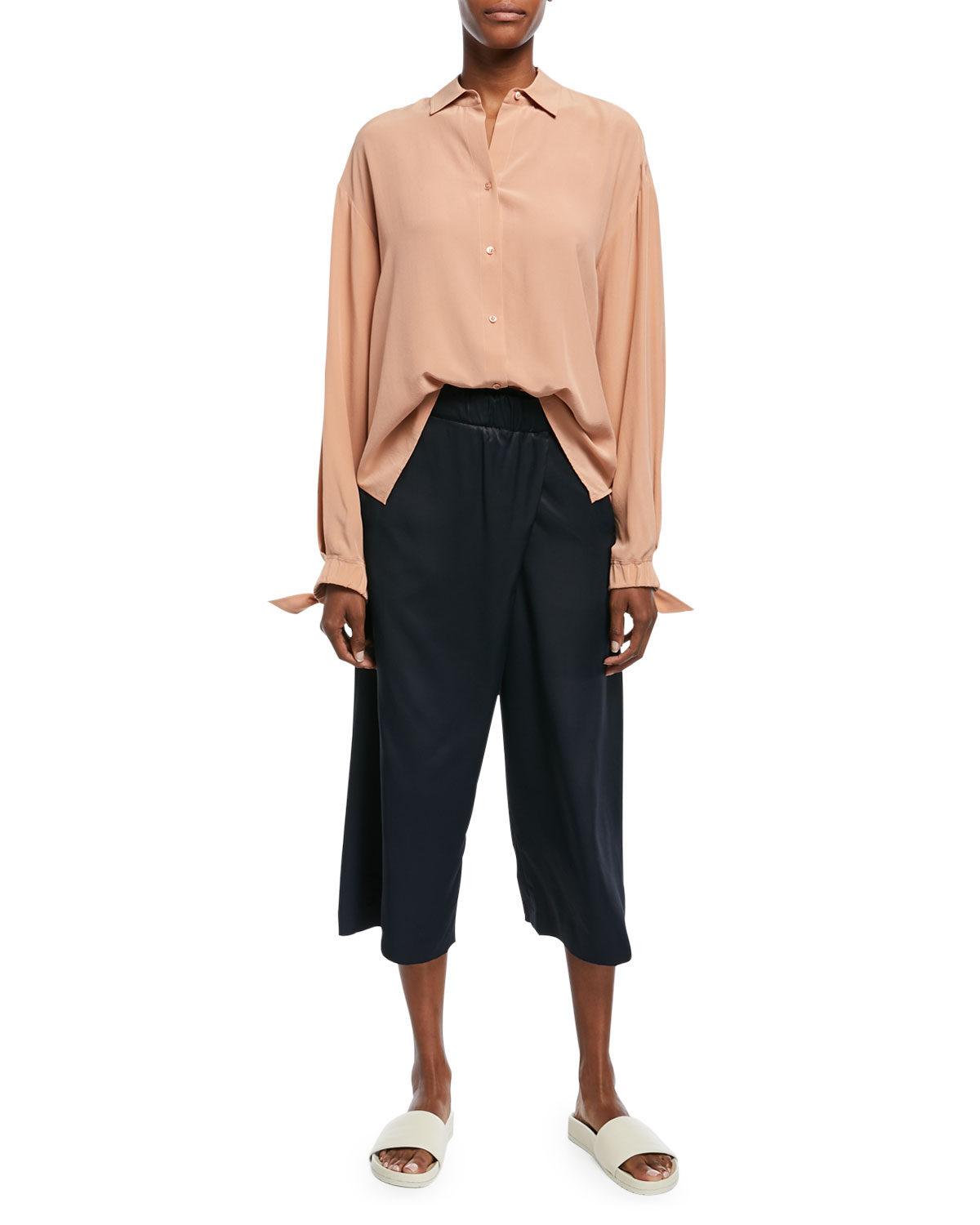Button-Front Tie-Sleeve Silk Blouse