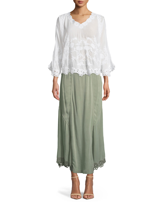 Elica Eyelet-Trim Long Skirt, Plus Size
