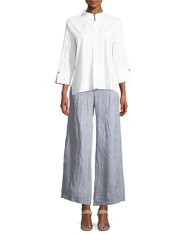 Ebba Pinstriped Linen Pants, Plus Size