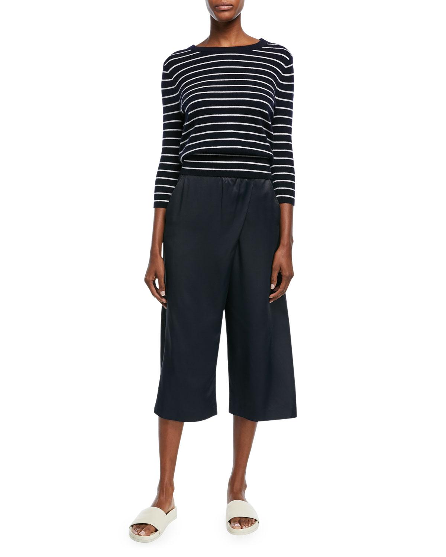 Striped Cashmere Self-Tie Back Shirt