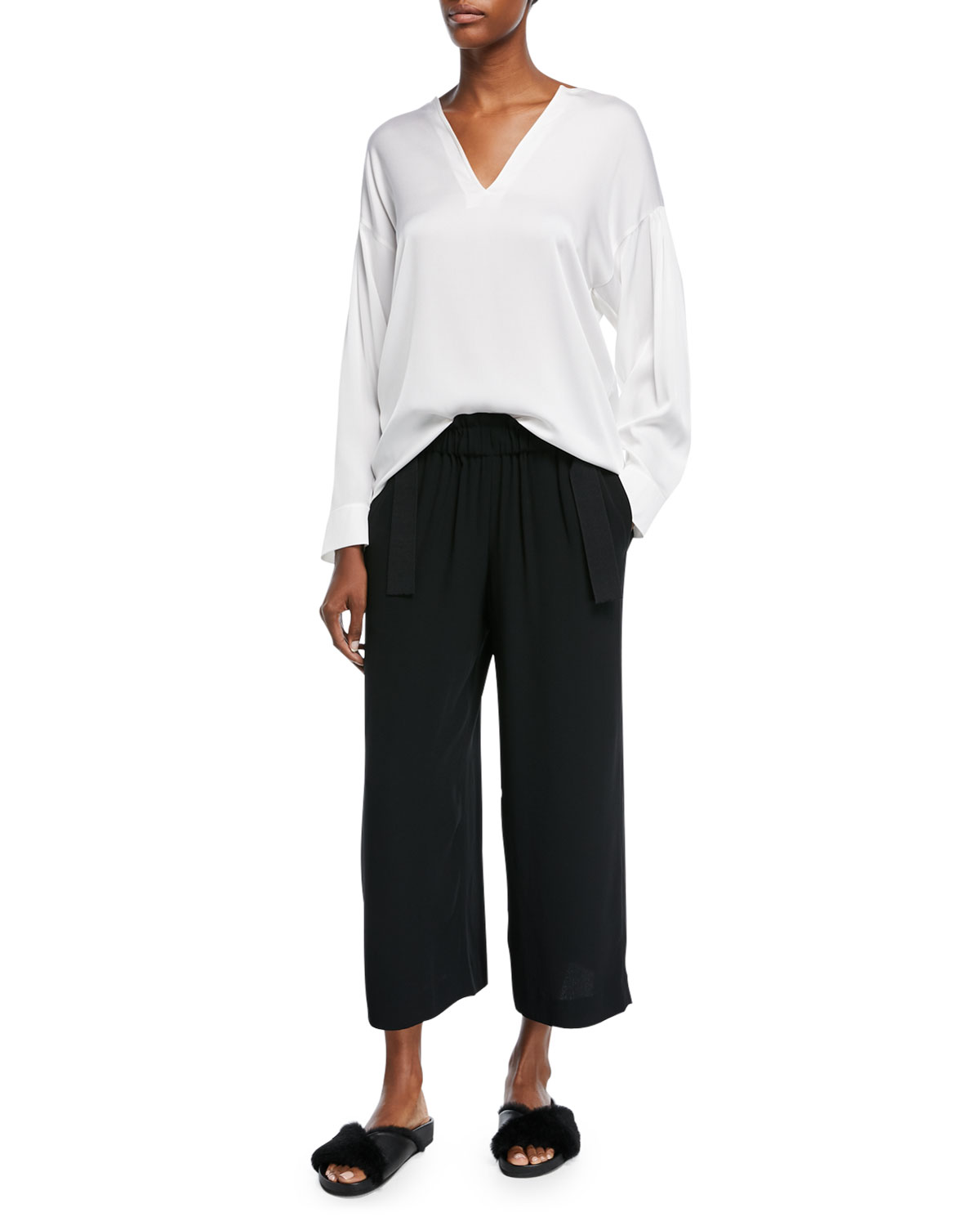 Cinched Waist Crepe Ankle Culottes