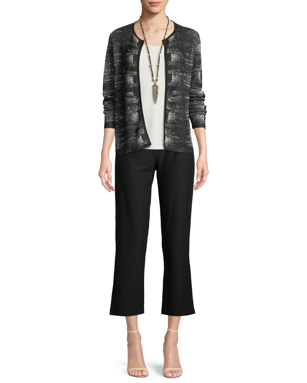Graphic-Knit Linen-Blend Cardigan