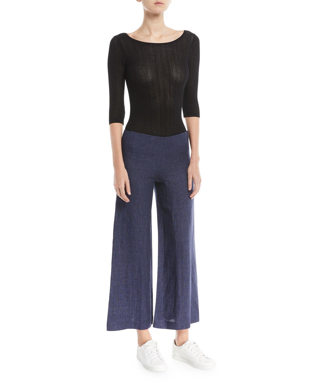 Terena B. Wide-Leg Integrate Linen Pants
