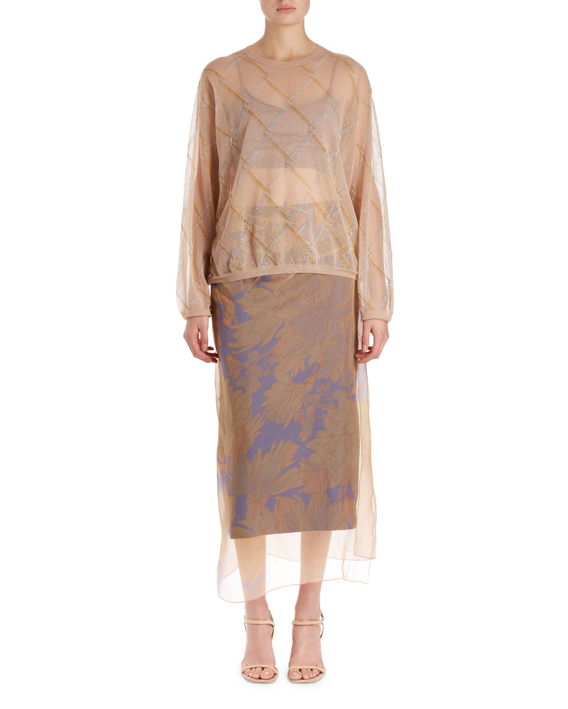 Sagax Floral Midi Skirt w/ Organza Overlay